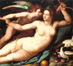 Aphrodite restraining Eros, a metaphor for love being the product of restraining the addictive properties of sex