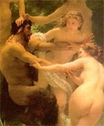 reluctant satyr dragged by nymphs